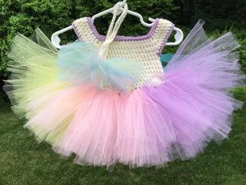 pastel rainbow tutu dress free crochet pattern