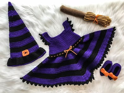 free witch costume for baby crochet pattern