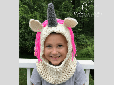 Free Unicorn Hooded Cowl Scarf Crochet Pattern Crochet Unicorn Scarf