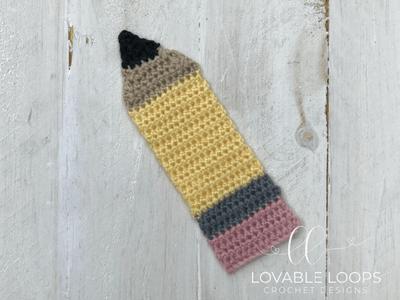 free pencil applique bookmark crochet pattern