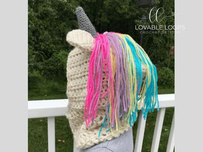 free unicorn hooded scarf cowl crochet pattern