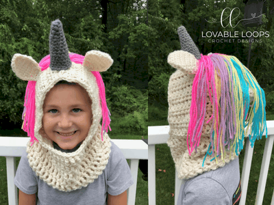 free hooded unicorn cowl crochet pattern