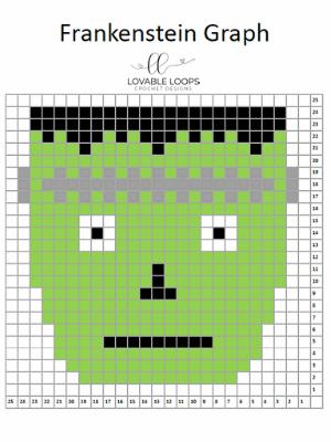 frankenstein pixel graph crochet pattern