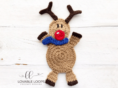 free reindeer applique crochet pattern