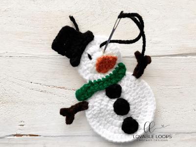 free snowman applique crochet pattern