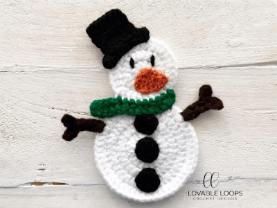 free snowman applique crochet pattern