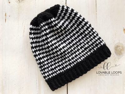 free houndstooth beanie hat crochet pattern