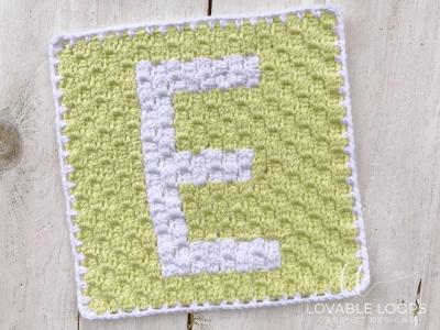 alphabet blanket letter e graph crochet pattern