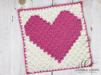 heart pixel graph baby lovey crochet pattern