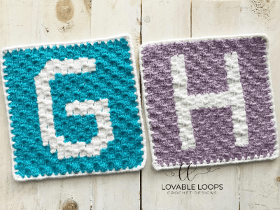 letter h square free crochet pattern