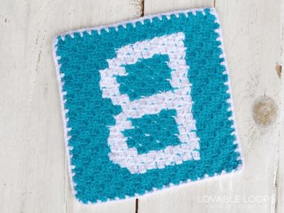 alphabet blanket letter b graph crochet pattern