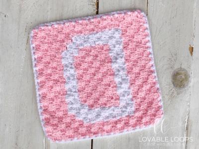 alphabet blanket letter d square crochet pattern