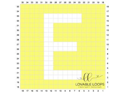 alphabet blanket letter e crochet pattern