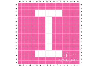 letter i graph free crochet pattern alphabet blanket