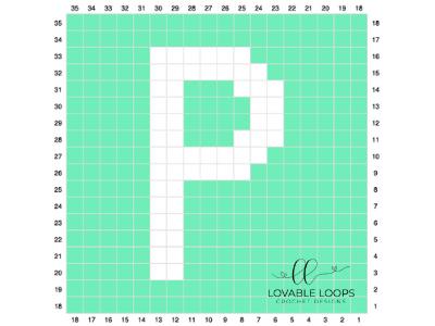 letter p graph free crochet pattern