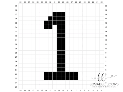 Number One Pixel Graph Free Crochet Pattern