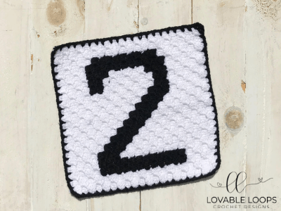 Number Two Pixel Graph Free Crochet Pattern