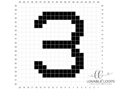 Number Three Pixel Graph Free Crochet Pattern