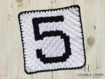 Number Five Pixel Graph Free Crochet Pattern