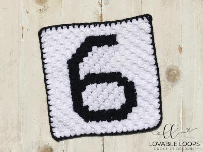 Number Six Pixel Graph Free Crochet Pattern