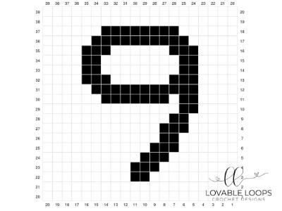 Number Nine Pixel Graph Free Crochet Pattern