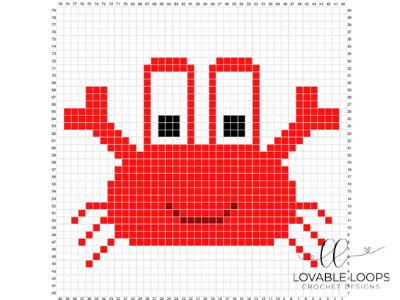 free crab pixel graph crochet pattern