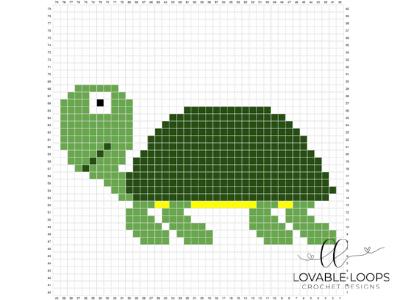 free turtle pixel graph crochet pattern