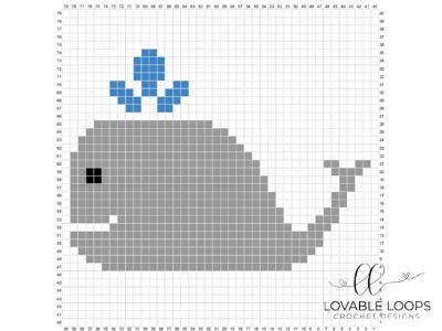 free whale pixel graph crochet pattern