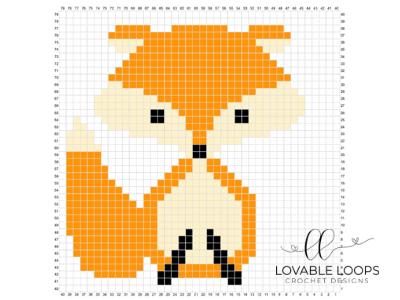 crochet fox c2c baby blanket