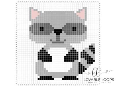 crochet raccoon c2c baby blanket
