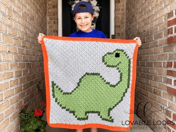 corner to corner dinosaur crochet pattern