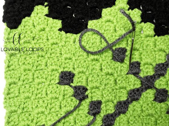 crochet frankenstein c2c blanket pattern