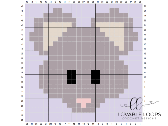 crochet mouse c2c graph pattern