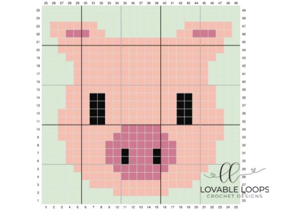 Crochet Pig c2c Graph Square Pattern