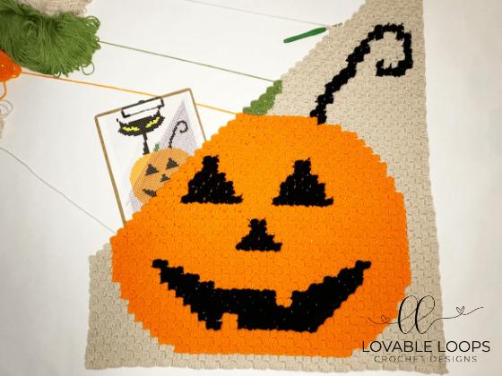 crochet halloween cat jack o lantern c2c blanket pattern