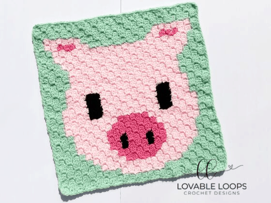 Crochet Pig c2c Graph Square Pattern