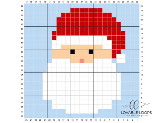 crochet santa claus c2c pattern