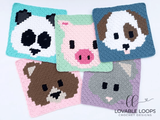 Crochet Animal Emoji Squares