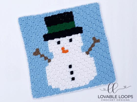 crochet snowman c2c graph pattern