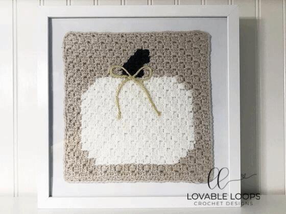 Crochet white pumpkin c2c pattern