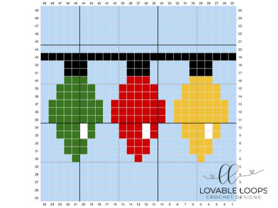 crochet christmas lights c2c graph