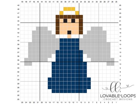 Crochet christmas angel c2c graph pattern