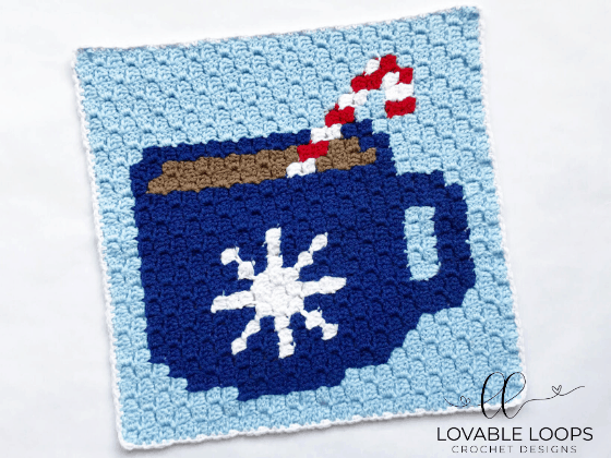 crochet hot cocoa c2c pattern graph
