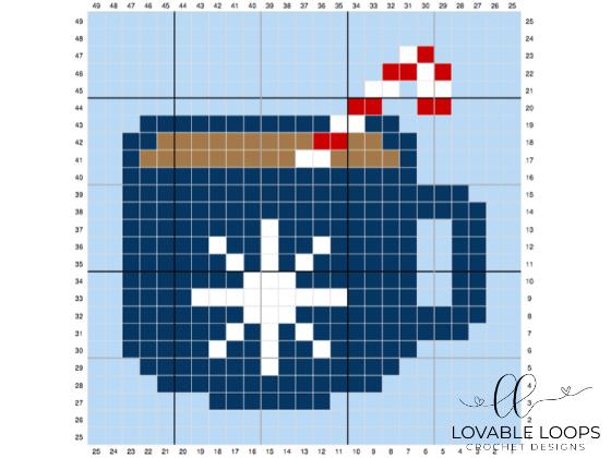 crochet hot cocoa c2c pattern graph