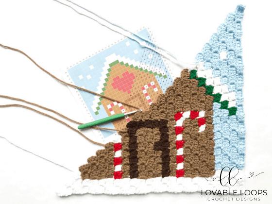 crochet gingerbread house c2c pattern