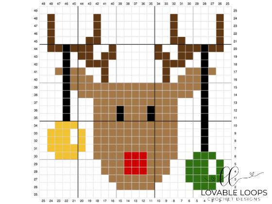 crochet rudolph reindeer c2c graph pattern