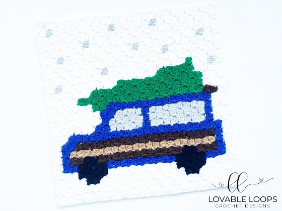 crochet holiday station wagon christmas tree c2c pattern