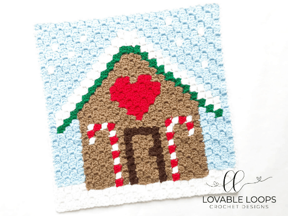 crochet gingerbread house c2c pattern