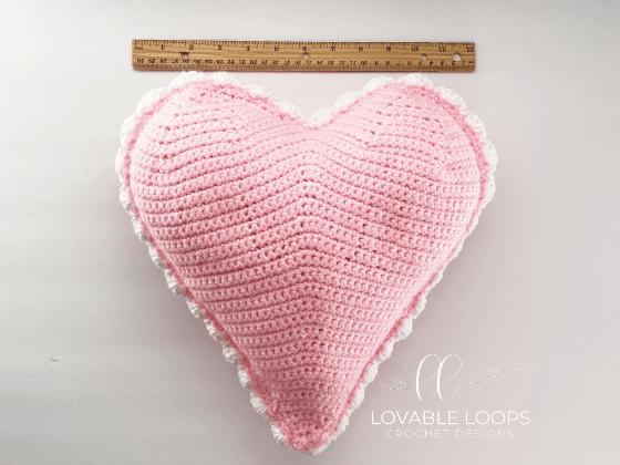 crochet heart pillow free pattern