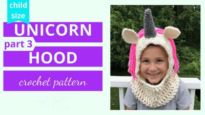 crochet unicorn hooded scarf cowl video tutorial